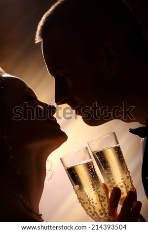 portrait of a newly-married couple with glasses of champagne. sensual kiss. dark silhouette. - stock photo