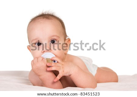portrait of a nice baby on a white