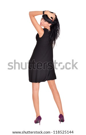 portrait of a nice girl posing on a white - stock photo