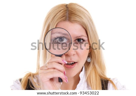portrait of a nice girl with loupe on white