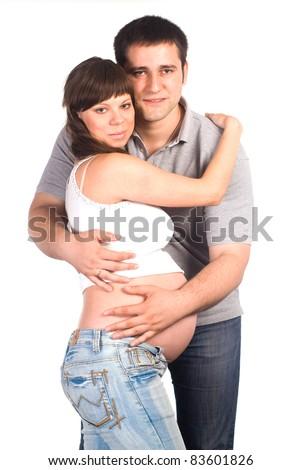 Красивые беременных женщин с мужчинами
