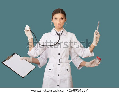 Portrait of a nurse with many hands, concept