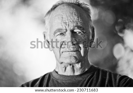 Portrait Of A Old Man Looking At The Camera