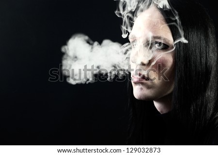 Portrait of a passionate smoker