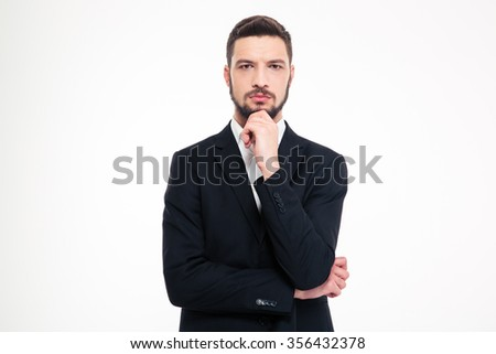 Portrait of a pensive businessman looking at camera isolated on a white background - stock photo