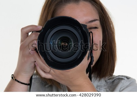 Portrait of a photographer covering her face with camera