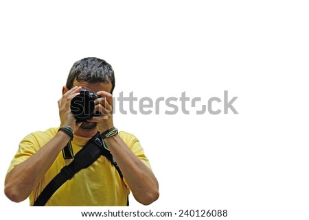 portrait of a photographer with camera isolated on white background - stock photo