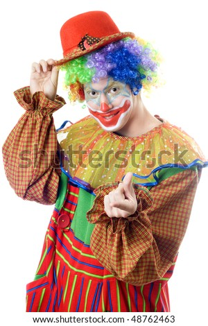 Portrait of a playful clown. Isolated on white