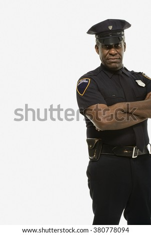 Portrait of a police officer - stock photo