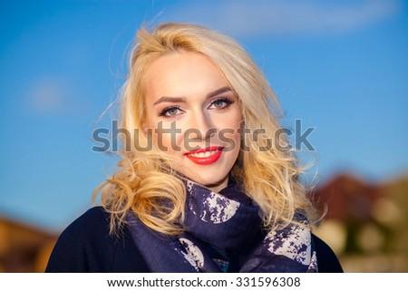 Portrait of a positive blond businesswoman. Confident successful smiling business woman - stock photo