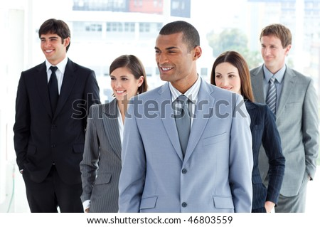 Portrait of a positive business team in a company