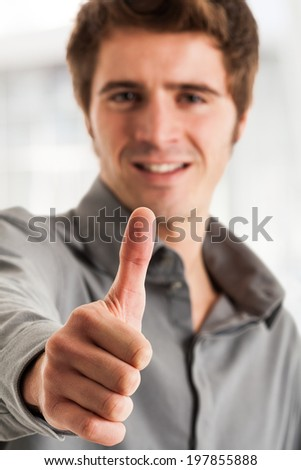 Portrait of a positive handsome man - stock photo
