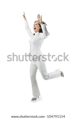 portrait of a positive pretty caucasian white woman with hands lifted expressing positivity isolated over white background - stock photo