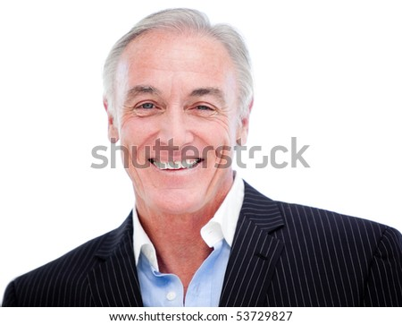Portrait of a positive senior businessman against a white background - stock photo