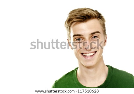 Portrait of a positive smiling man - stock photo