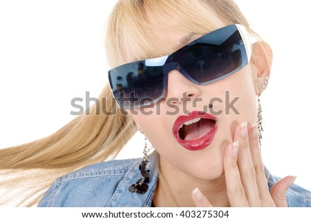 portrait of a pretty blonde woman with sunglasses, on white