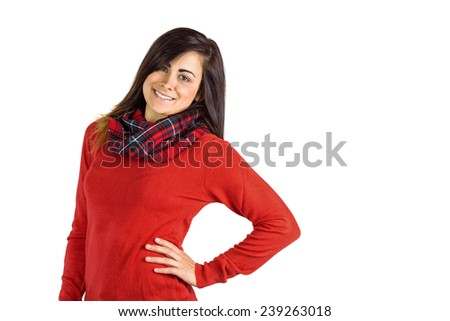 Portrait of a pretty brunette posing on white background