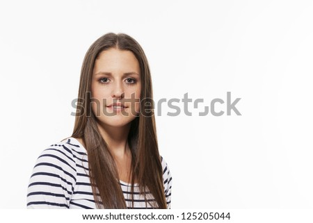 portrait of a pretty brunette teenager on white background - stock photo