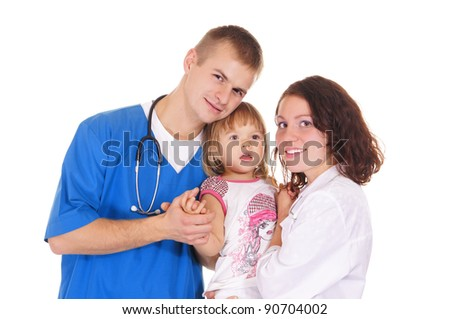 portrait of a pretty doctors and little girl