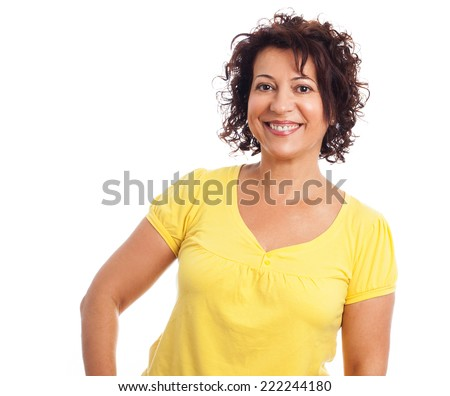 portrait of a pretty middle age woman standing - stock photo
