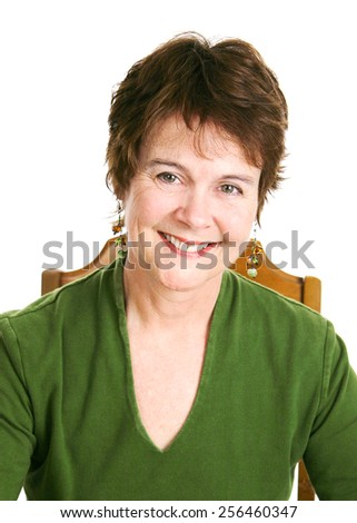 Portrait of a pretty, middle-aged Irish woman.  White background.
