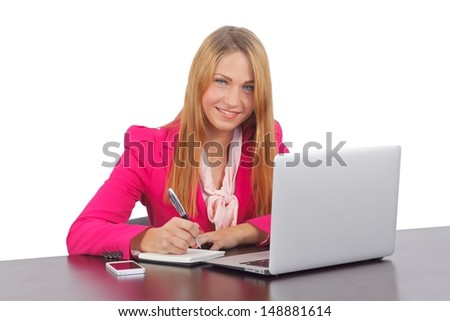 Portrait of a pretty smiling business woman on isolated background