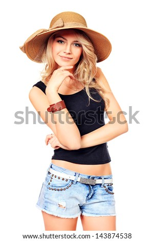 Portrait of a pretty smiling young woman in summer clothes. Isolated over white. - stock photo