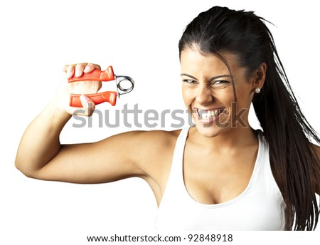 portrait of a pretty sporty woman over white background - stock photo