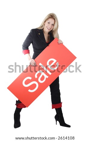 Portrait of a pretty woman. Shot in studio. Best idea for ad sale. Isolated with clipping path.