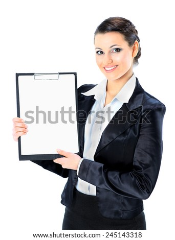 Portrait of a pretty young business lady with the work plan, smiling. Isolated on a white background. - stock photo