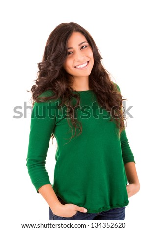 Portrait of a pretty young woman standing against white background - stock photo