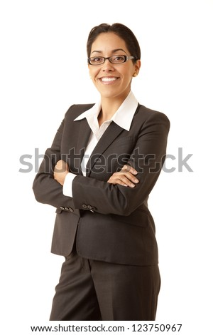Portrait of a professional Hispanic business woman wearing a grey suit looking at camera isolated on white