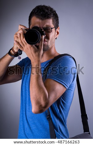Portrait of a Professional photographer in studio