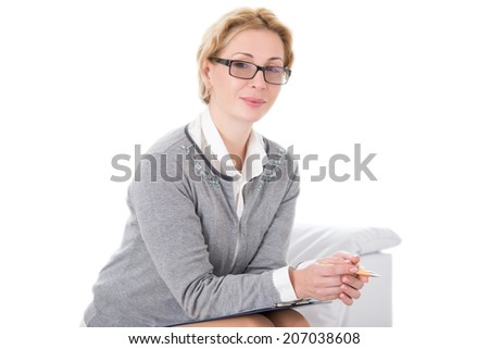 Portrait of a psychologist being ready to take notes - stock photo