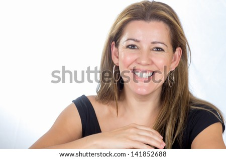 Portrait of a real woman with happy face - stock photo