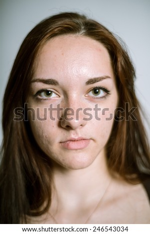 Portrait of a real young woman. Shallow depth of field. Focus on the eyelashes - stock photo