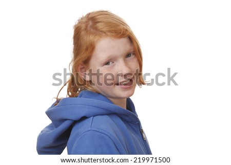 Portrait of a redhaired young girl with freckles on white background - stock photo