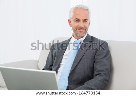 Portrait of a relaxed mature businessman with laptop sitting on sofa in living room at home