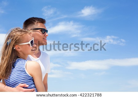 Portrait of a romantic young couple in love - stock photo