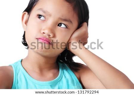Portrait of a sad asian girl. - stock photo