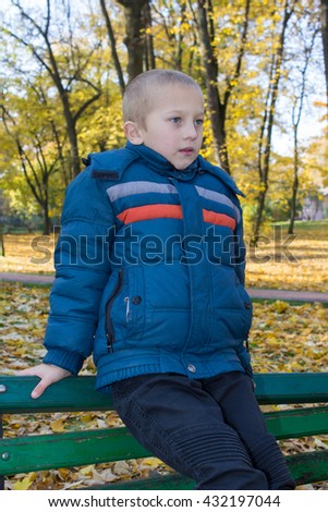 portrait of a sad boy in autumn park