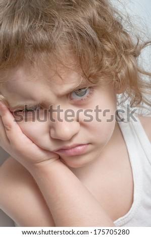 portrait of a sad girl - stock photo