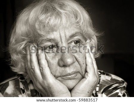 Portrait of a sad lady. Black and white portraits series - stock photo