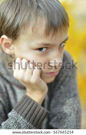 Portrait of a sad little boy outdoors in autumn - stock photo