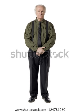 Portrait of a sad old businessman standing on a white background
