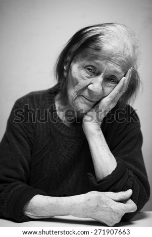 Portrait of a sad Senior woman.