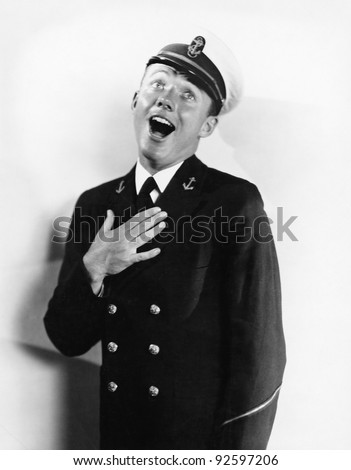 Portrait of a sailor laughing - stock photo