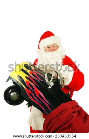 Portrait of a Santa Claus posing isolated on white with room for your text. Santa Claus is a mythical figure who is popular around the world, representing good things for all people and cultures.  - stock photo