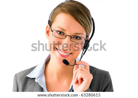 Portrait of a sassy young telemarketer - stock photo