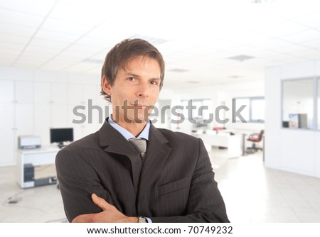Portrait of a satisfied, mature businessman in an office environment - stock photo